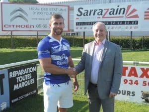Rhys Curran avec le Président SARRAZAIN ©TO XIII