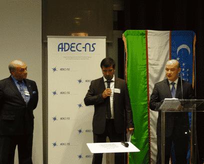 SEM Ambassadeur d'Ouzbékistan, M. Salinas, président de l'ADEC NS et le traducteur
