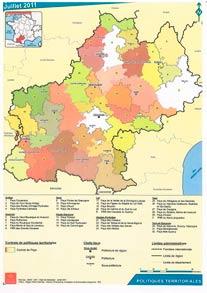 Carte des Pays en Midi-Pyrénées