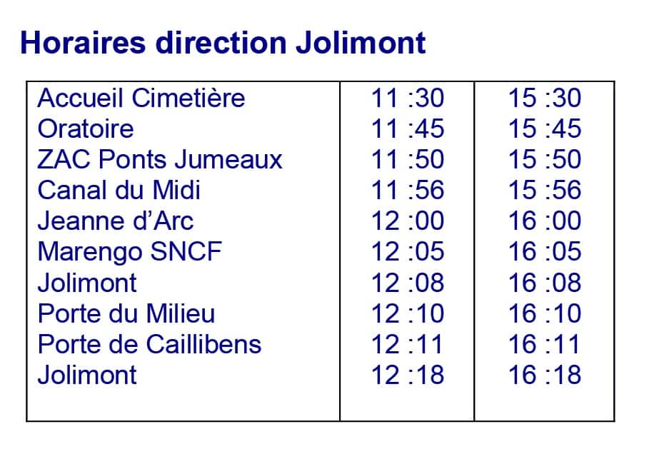 Horaires direction Jolimont