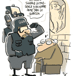 [#LeBQE] Que tient dans sa main la statue de la rue de l'Homme-Armé?