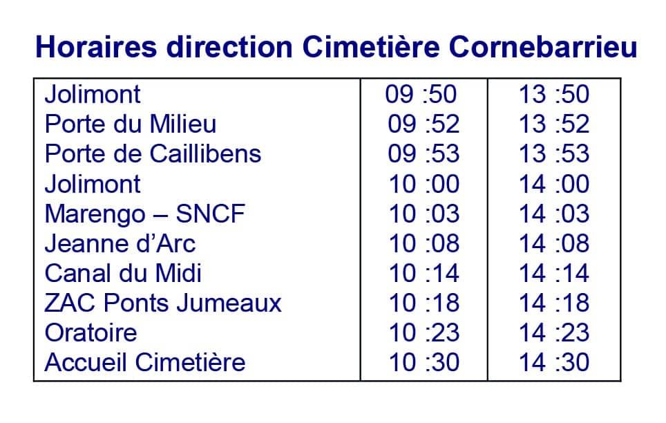 Horaires direction Cimetière Cornebarrieu