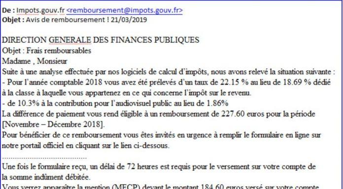 mail frauduleux finances publiques