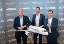 De gauche à droite: le désormais ex-patron d'Airbus Tom Enders, le directeur financier Harald Wilhelm, et le nouveau PDG, Guillaume Faury ©Hervé Goussé – Master Films – Airbus