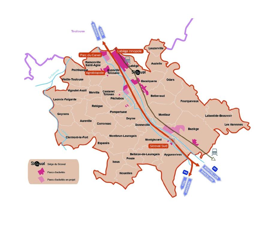 Territoire sur lequel sera menée l'enquête sur la perception des habitants du Sicoval concernant leur cadre de vie