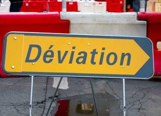 Travaux panneaux déviation