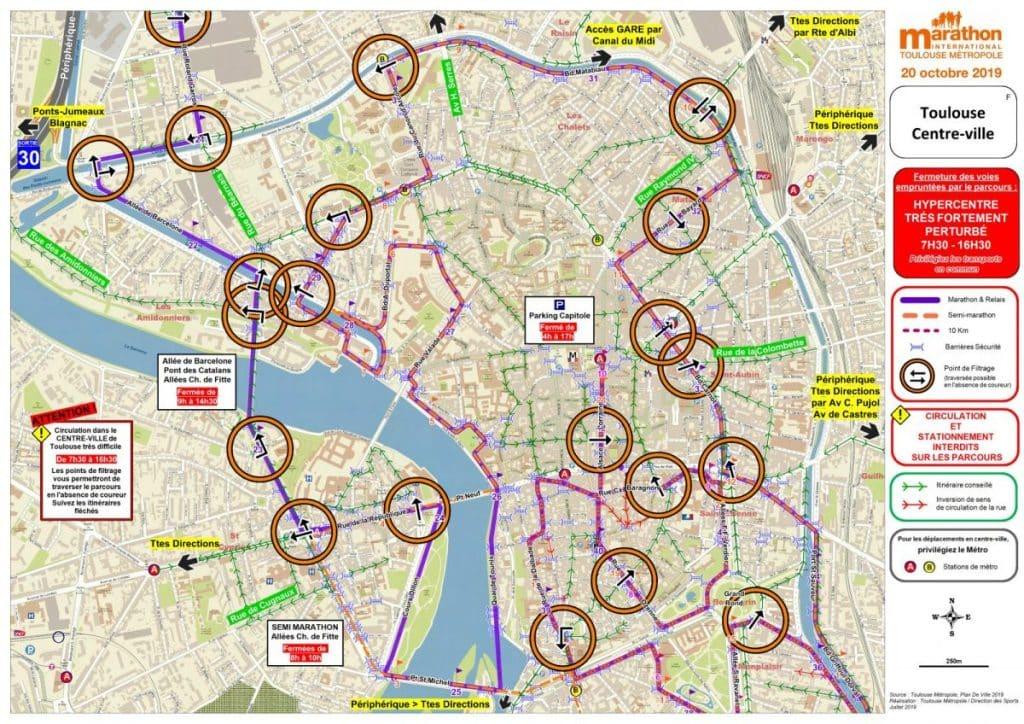 circulation marathon toulouse metropole