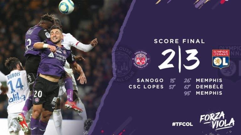 Revivez la nouvelle défaite à la dernière minute du TFC contre Lyon (2-3)