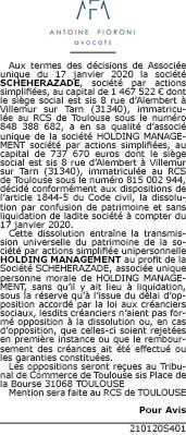 DISSOLUTION SCHEHERAZADE-HOLDING MANAGEMENT (1)