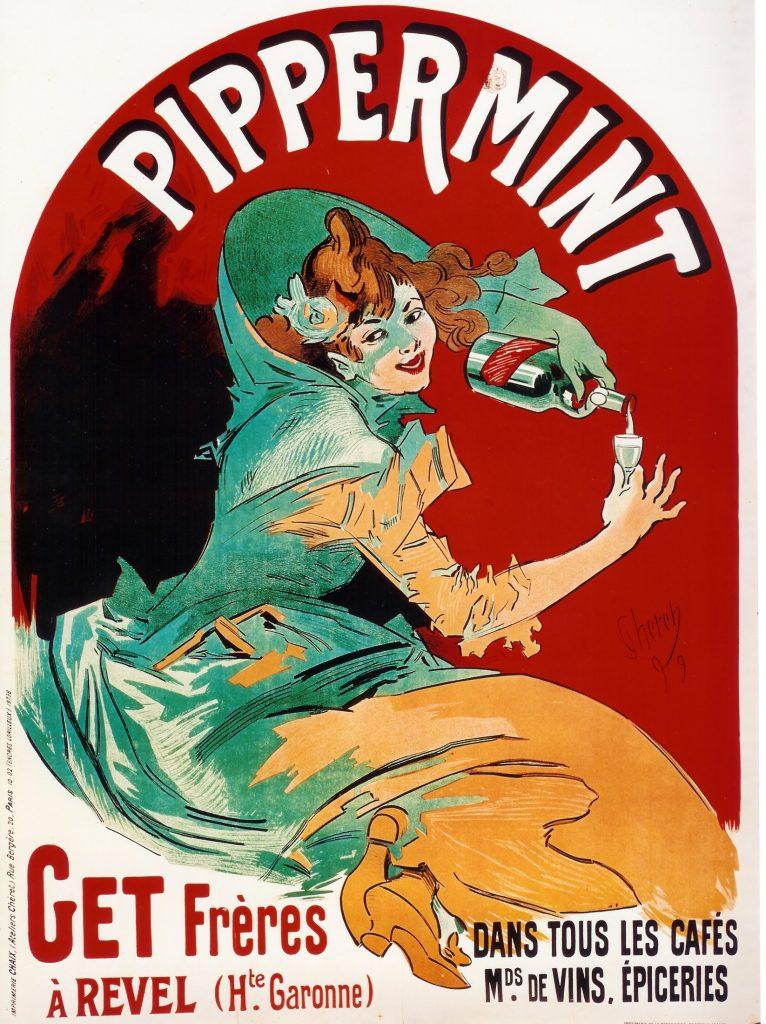 Une affiche publicitaire pour la liqueur de menthe revelloise signée Jules Cherret, en 1899