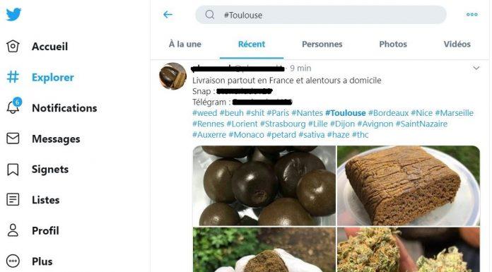 tweet vente de drogue en ligne