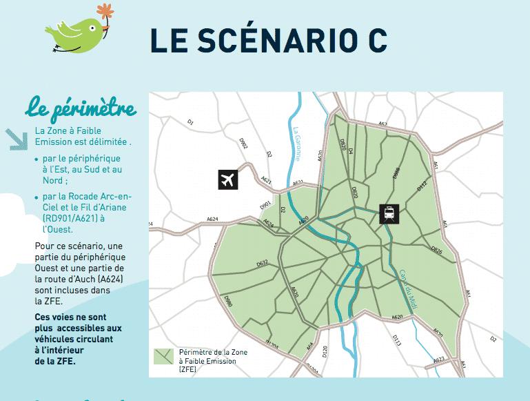 Le scénario le plus restrictif de la Zone de faible émission de la Métropole de Toulouse @Toulouse Métropole
