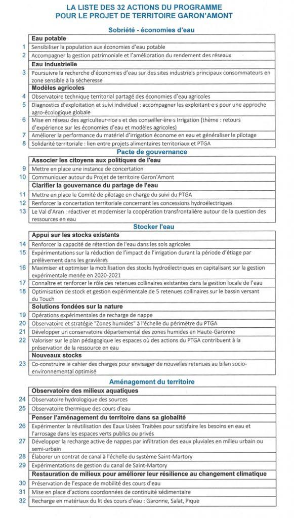 32 actions du programme pour le Projet de territoire Garon'Amont