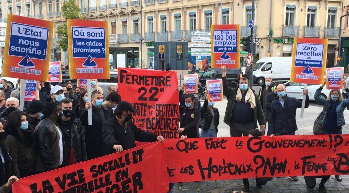 Une manifestation des Les commerçants, artisans ou chefs d'entreprises «non essentiels» ce vendredi à Toulouse©PS