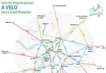 La carte des temps de parcours à vélo dans le Grand Montauban ©Monta'Vélo 82