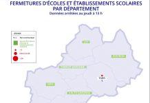 La carte des écoles fermées pour cause de Covid-19 dans l'académie de Toulouse