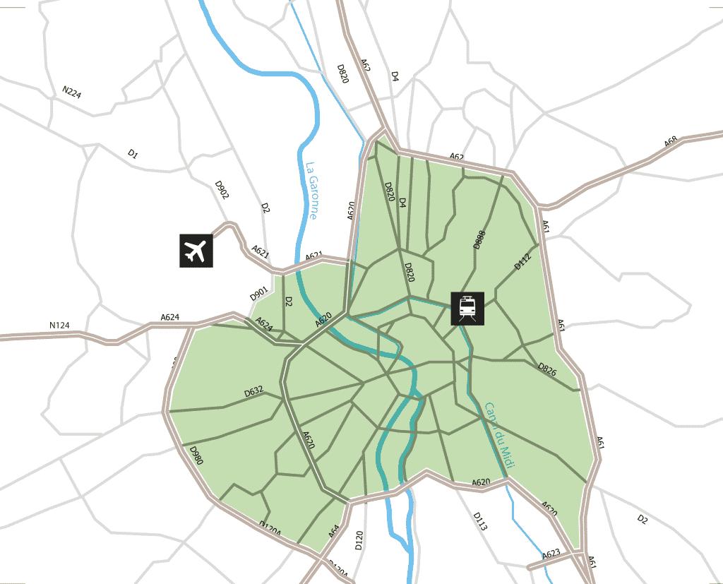 En vert, le périmètre concerné par la future ZFE.