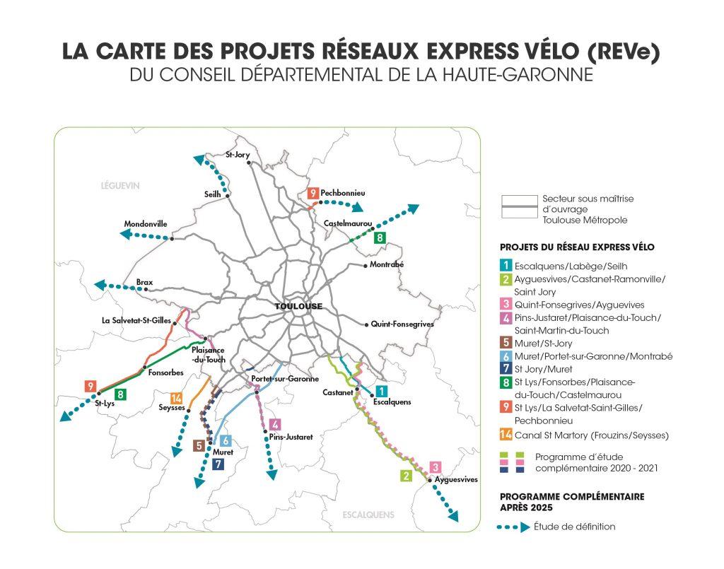 sept Réseaux Express Vélo (REVe)