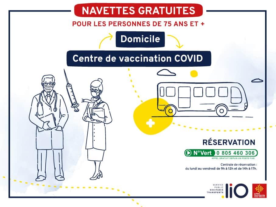transport demande vaccination Région Occitanie liO gratuit vacciner