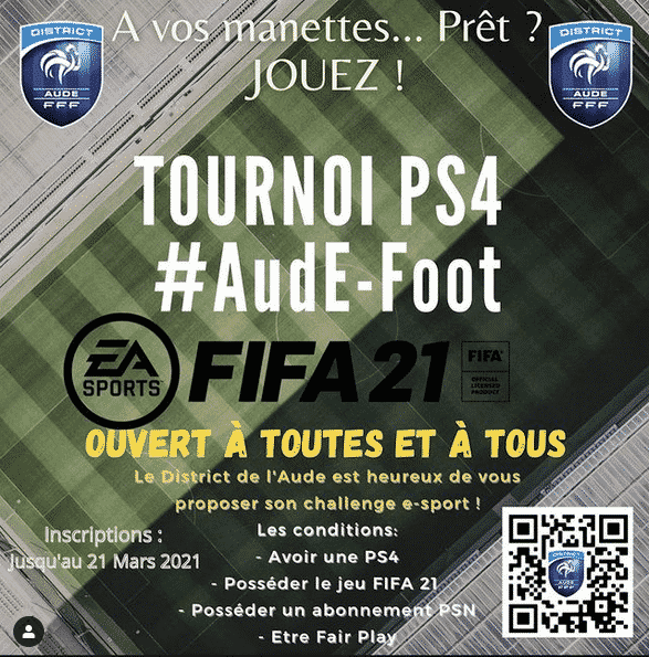 Le district de football de l'Aude organise un e-tournoi Fifa 21 ouvert à tous les habitants du département ©FFF DistrictDeL'Aude