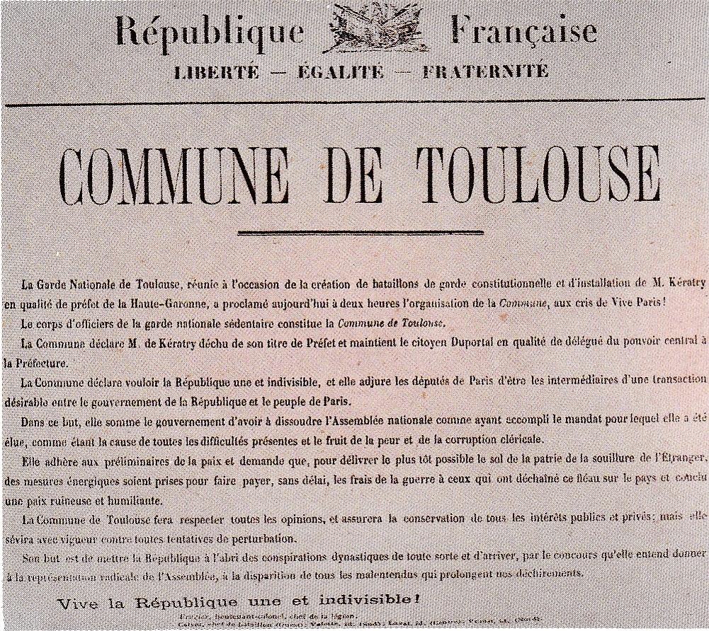 Le manifeste de la Commune de Toulouse, proclamée le 25 mars 1871