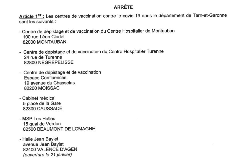 Covid Tarn-et-Garonne vaccination