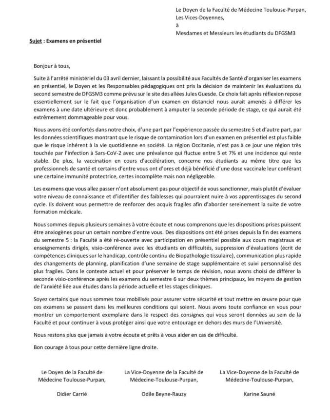 Toulouse Université examens