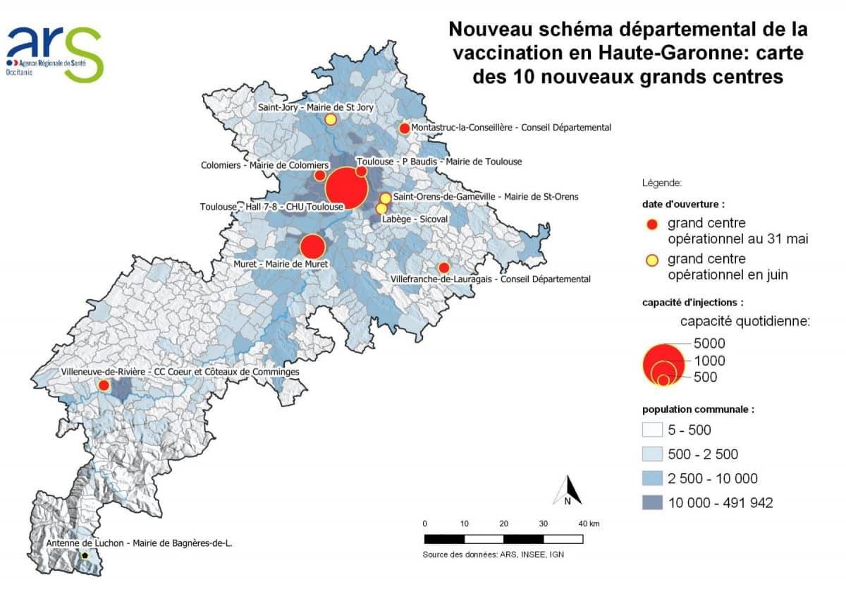 carte centres vaccination Haute-Garonne