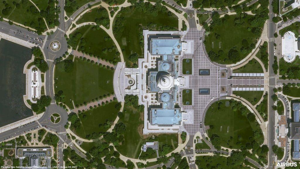 La Maison blanche américaine, à Washington, photographiée par le satellite Pléiades Neo 3 d'Airbus @Airbus