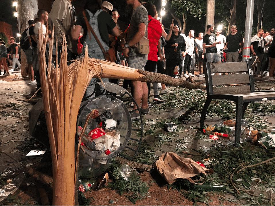 Quelques dégâts sur la place Saint-Pierre