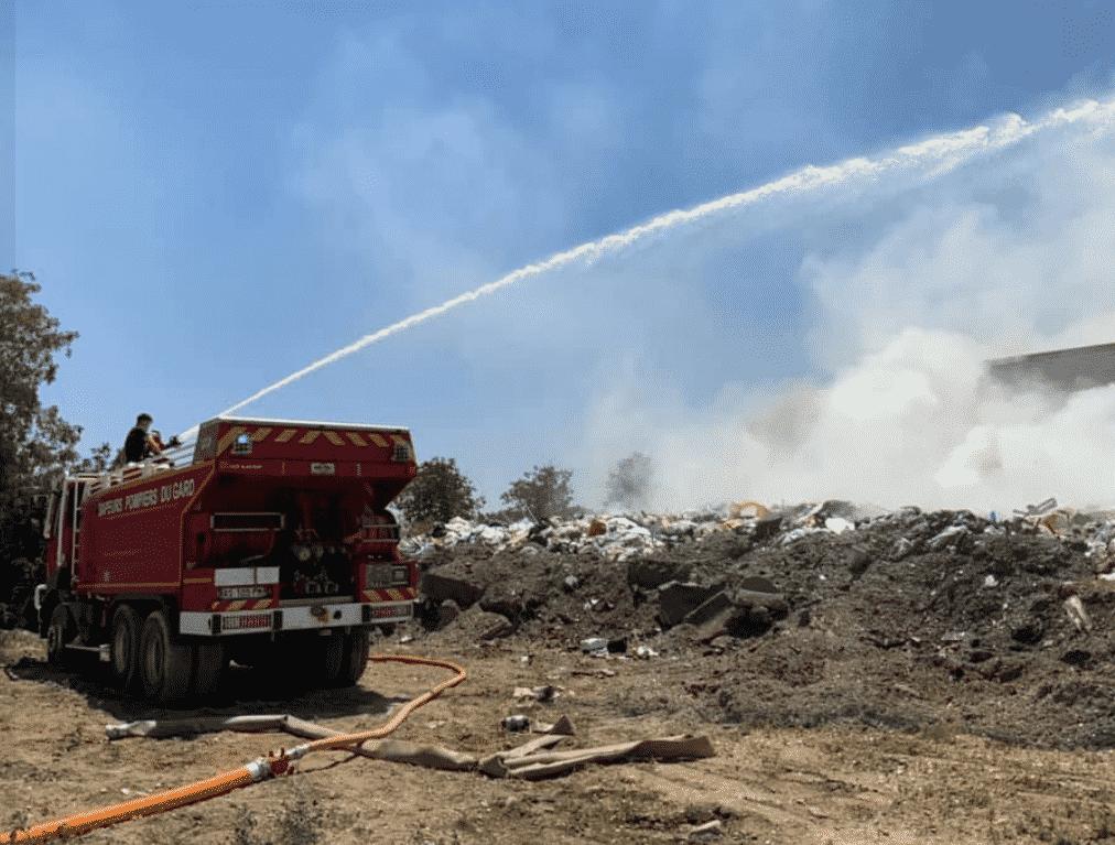 Incendie déchetterie Sdis pompiers Gard