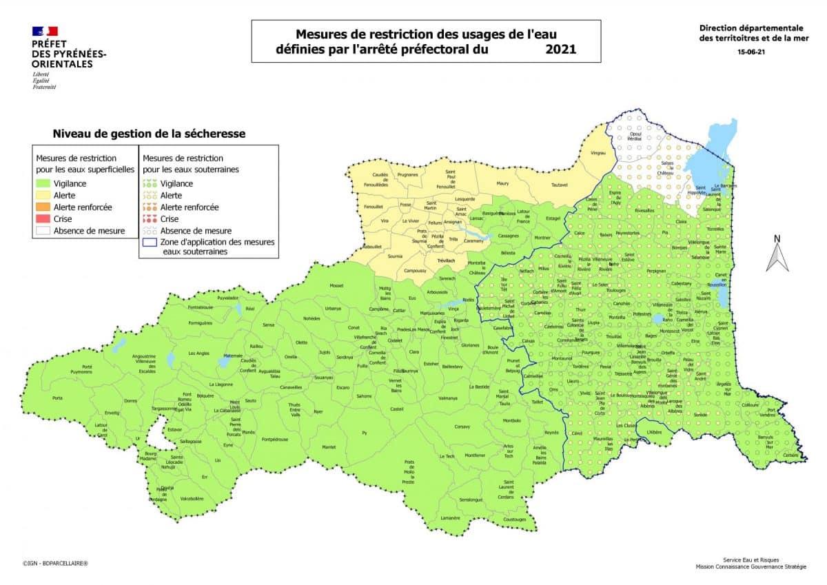 carte alerte eau Pyrénées orientales