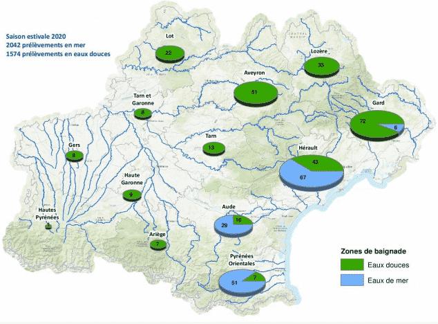 les zones de baignade analysées en Occitanie. ©ARS