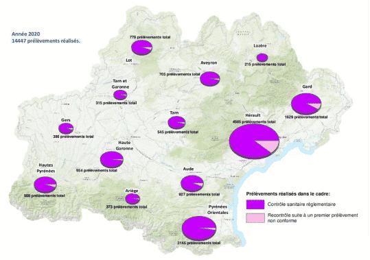 Les piscines analysées en Occitanie. ©ARS