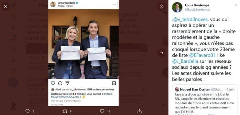Régionales. Un colistier de Vincent Terrail-Novès  suspendu pour des like pro-Rassemblement national