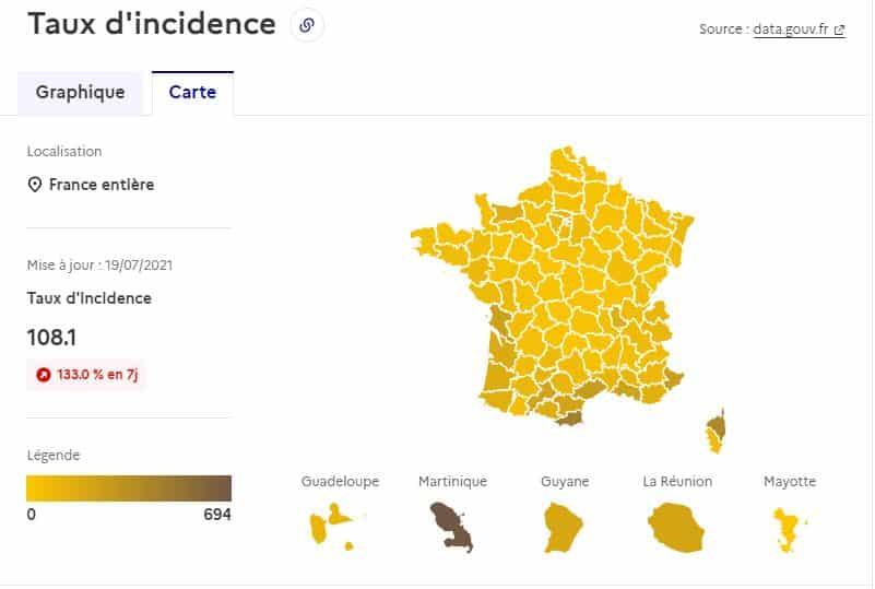 carte tx incidence covid france delat Occitanie
