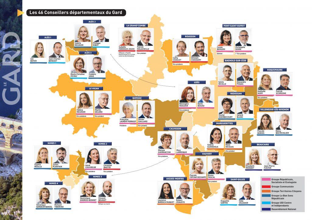 Voici la composition du nouvel exécutif du Conseil départemental du Gard, élu le 27 juin dernier, le trombinoscope des 46 élus et les délégations qui leur ont été attribuées @CDGard