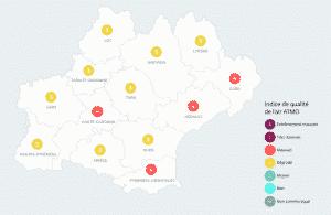 La qualité de l'air est mauvaise à Toulouse et dégradée ou mauvais dans le reste de l'Occitanie ce mercredi 11 août. La faute au beau temps qui s'est installée sur la région. / Atmos