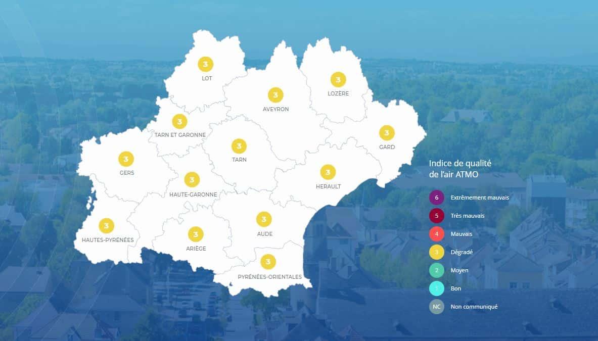 Occitanie qualité air Atmo