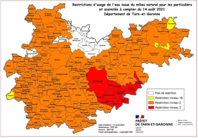 Séchersse tarn et Garonne restriction eau
