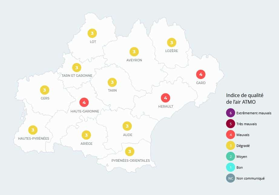 Atmo Occitanie publie un indice de qualité de l'air dégradé sur la région