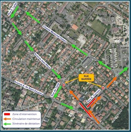 The diversion routes set up during the works in the Ormeau sector in Toulouse