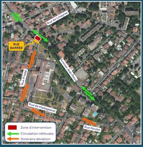 The diversion routes put in place during the works in the François Verdier district in Toulouse