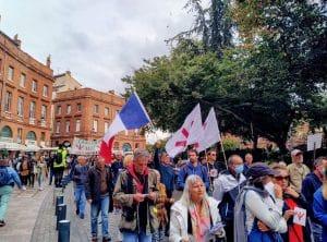 La manifestation contre le pass sanitaire à Toulouse le 9 octobre. Crédit photo : BF